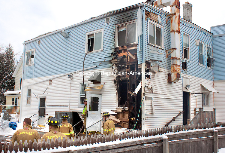 PLYMOUTH CT- FEBRUARY 21 2014 21_NEW_021914DA03.jpg- Eagles Nest Restaurant o 163 Main St. in Terryville sustained extensive damage Wednesday morning after a basement fire spread to the eatery which created extensive damage. The residents of the four apartments on the second floor were displaced by the fire, no injuries were reported and the cause of the fire is under investigation.