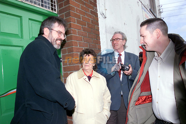 Gerry Adams meeting the people at the opening of the Sinn Fein Centre..Picture Fran Caffrey Newsfile.