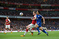 Leicester City's Shinji Okazaki battles for possession with Arsenal's Rob Holding<br /> <br /> Photographer Craig Mercer/CameraSport<br /> <br /> The Premier League - Arsenal v Leicester City - Friday 11th August 2017 - Emirates Stadium - London<br /> <br /> World Copyright &copy; 2017 CameraSport. All rights reserved. 43 Linden Ave. Countesthorpe. Leicester. England. LE8 5PG - Tel: +44 (0) 116 277 4147 - admin@camerasport.com - www.camerasport.com