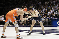 STATE COLLEGE, PA - FEBRUARY 16: Jimmy Gullibon of the Penn State Nittany Lions during a 133 pound match against Jon Morrison of the Oklahoma State Cowboys on February 16, 2014 at Rec Hall on the campus of Penn State University in State College, Pennsylvania. Penn State won 23-12. (Photo by Hunter Martin/Getty Images) *** Local Caption *** Jimmy Gullibon;Jon Morrison
