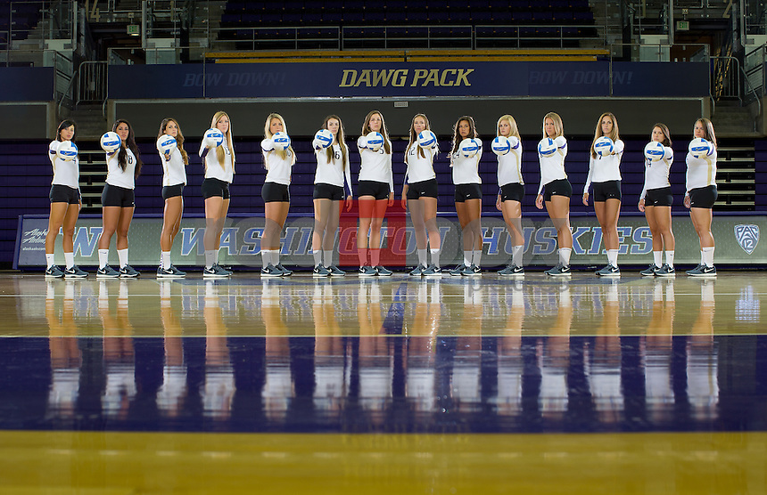 The 2013-14 University of Washington volleyball team photographed at Alaska Airlines Arena & Kerry Park in Seattle on August 9, 2013. (Photo by Scott Eklund /Red Box Pictures)