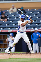 Jalen Phillips (22) of the Duke Blue Devils at bat against the California Golden Bears at Durham Bulls Athletic Park on February 20, 2016 in Durham, North Carolina.  The Blue Devils defeated the Golden Bears 6-5 in 10 innings.  (Brian Westerholt/Four Seam Images)