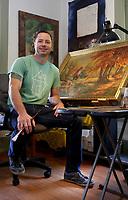 NWA Democrat-Gazette/DAVID GOTTSCHALK  Jason Jones sits Monday, October 2, 2017, in his studion at his house in Fayetteville.