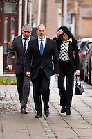 Monday 16 December 2013<br /> Pictured:Mine owners ( left and right )  arrive at Swansea Crown court<br /> Re: Gleision Mine Directors at Swansea Crown Court. A mine manager has pleaded not guilty to manslaughter over the deaths of four miners at a Swansea Valley colliery. Malcolm Fyfield, 58, was manager of the Gleision drift mine near Cilybebyll when it flooded in September 2011