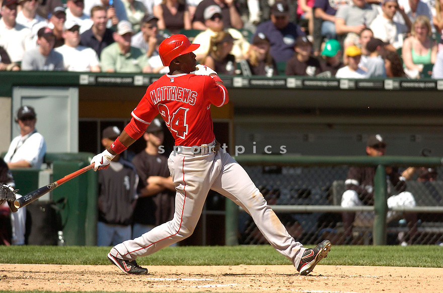 GARY MATTHEWS JR., of the Los Angeles Angels, in action during the Angels game against the Chicago White Sox in Chicago, Illinois  on April 29, 2007....Angels win 5-2...DAVID DUROCHIK / SPORTPICS..