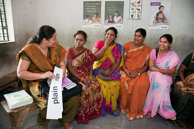 30 November 2011 : Academic Manager Kanchan (left) instructing teachers  at Sri Chakri Vidya Niketan school which is a partner school with the new Rumi Education education model run by the Richard Chandler corporation in Hyderabad, India. Pictures by Graham Crouch