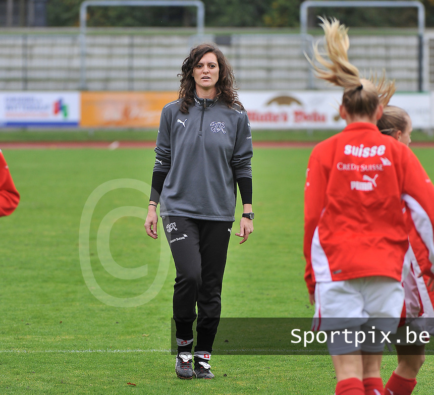 20131013 - BAMBERG , GERMANY :  Swiss Physiotherapist Danja Santini pictured during the female soccer match between Switzerland Women U17 and Belgium U17 , in the second game of the Elite round in group 6 in the UEFA European Women's Under 17 competition 2013 in the Fuchs Park Stadion - Bamberg  Sunday 13 October 2013. PHOTO DAVID CATRY