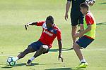 Getafe's Djene Dakoman (l) and Francisco Portillo during training session. September 12,2017.(ALTERPHOTOS/Acero)