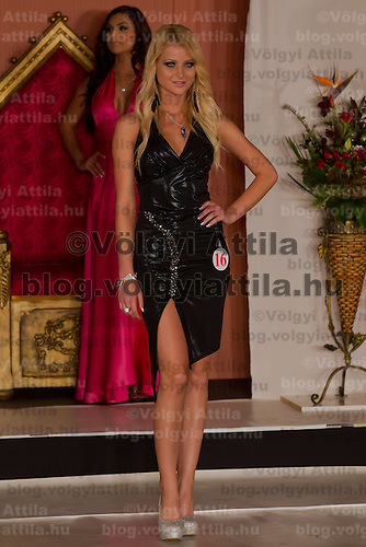 Csilla Nigrinyi participates the Miss Hungary beauty contest held in Budapest, Hungary on December 29, 2011. ATTILA VOLGYI