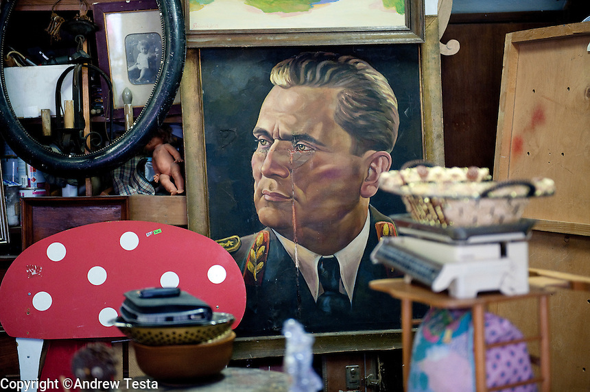 SLOVENIA. . 25th July 2011.<br /> A portrait of Tito, creator and leader of Yugoslavia for sale in an antique shop in Piran.<br /> &copy;Andrew Testa for the New York Times