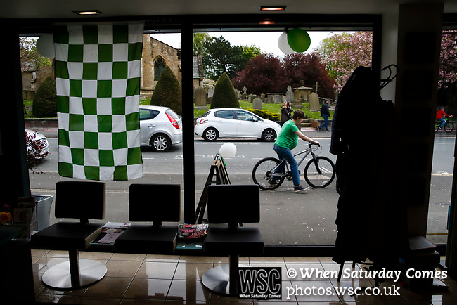 A North Ferriby flag and balloons in a beauty salon in the village. Vanarama National League North, Promotion Final, North Ferriby United v FC Fylde, 14th May 2016.