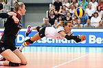 23.08.2018, Sporthalle Berg Fidel, Muenster<br />Volleyball, LŠnderspiel / Laenderspiel, Deutschland vs. Niederlande<br /><br />Abwehr Lenka DŸrr / Duerr (#1 GER) / Libero<br /><br />  Foto &copy; nordphoto / Kurth