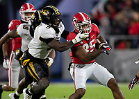 ATHENS, GA - NOVEMBER 09: Brian Herrien #35 of the Georgia Bulldogs is tackled by Tyree Gillespie #9 of the Missouri Tigers during a game between Missouri Tigers and Georgia Bulldogs at Sanford Stadium on November 09, 2019 in Athens, Georgia.