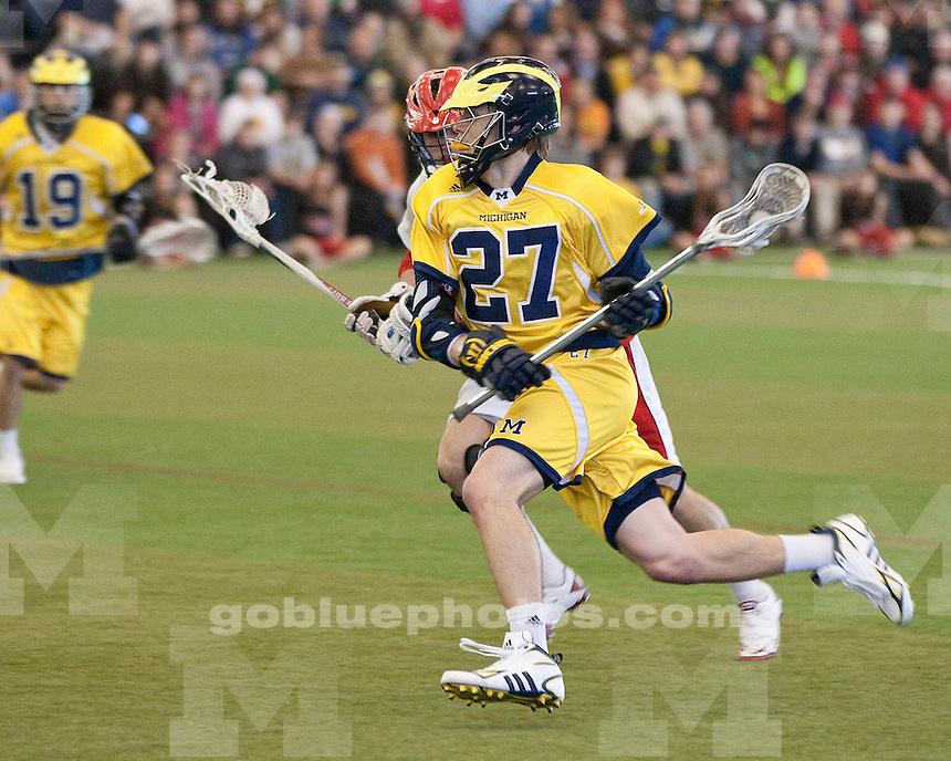 The University of Michigan men's lacrosse team lost 13-9 to Detroit-Mercy at Ultimate Soccer Arenas in Pontiac, Mich., on February 12, 2012.