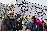 """Kundegebung der Frauenrechtsorganisation <br /> """"Terre des Femmes"""" in Berlin anlaesslich des internationalen Tag gegen weibliche Genitalverstuemmelung am Mittwoch den 6. Februar 2019 vor dem Brandenburger Tor.<br /> Die Frauenrechtsorganisation fordert Bund und Laender dazu auf, sich konsequent und entschlossen gegen weibliche Genitalverstuemmelung einzusetzen. """"Weibliche Genitalverstuemmelung ist eine Menschenrechtsverletzung. Die Zahl bedrohter und betroffener Maedchen und Frauen steigt kontinuierlich in Europa - auch in Deutschland"""".<br /> 6.2.2019, Berlin<br /> Copyright: Christian-Ditsch.de<br /> [Inhaltsveraendernde Manipulation des Fotos nur nach ausdruecklicher Genehmigung des Fotografen. Vereinbarungen ueber Abtretung von Persoenlichkeitsrechten/Model Release der abgebildeten Person/Personen liegen nicht vor. NO MODEL RELEASE! Nur fuer Redaktionelle Zwecke. Don't publish without copyright Christian-Ditsch.de, Veroeffentlichung nur mit Fotografennennung, sowie gegen Honorar, MwSt. und Beleg. Konto: I N G - D i B a, IBAN DE58500105175400192269, BIC INGDDEFFXXX, Kontakt: post@christian-ditsch.de<br /> Bei der Bearbeitung der Dateiinformationen darf die Urheberkennzeichnung in den EXIF- und  IPTC-Daten nicht entfernt werden, diese sind in digitalen Medien nach §95c UrhG rechtlich geschuetzt. Der Urhebervermerk wird gemaess §13 UrhG verlangt.]"""