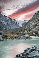 Sunrise near Ice Lake with Butler River in foreground. Shackleton and Whataroa Glaciers in background, Westland Tai Poutini National Park, UNESCO World Heritage Area, West Coast, New Zealand, NZ