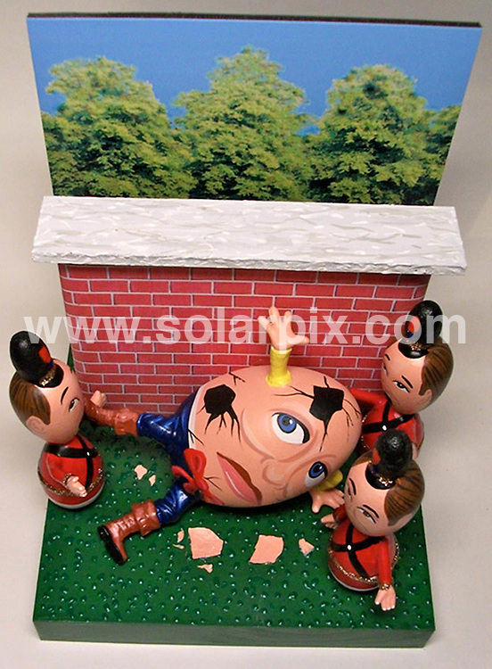 "**ALL ROUND PICTURES FROM SOLARPIX.COM**.**NO UK NEWSPAPER PUBLICATION**.**UK MAGAZINE & SUPPLEMENT PUBLICATION ONLY** AND NO PUBLICATION IN AUSTRALIA, BELGIUM, FRANCE, GERMANY, ITALY, SCANDINAVIA AND USA** .The Easter tradition of decorating eggs has been taken to a new level by this American artist..John Lamouranne known as 'The Egg Man' has been recreating famous personalities using eggs for over three  decades..The 63 year old from New Orleans, Louisiana, creates his 'Egg Art' using strong hollowed goose eggs for the head and wooden or ceramic eggs for the body. He then carefully hand paints each face and  in some cases even builds a complete set to place the icon in..John's work includes the late Michael Jackson, David Beckham,  rapper Jay Z  and Barack Obama and he  has also recreated every Beatles album cover..He has just completed an Alice Wonderland set paying homage to the new Tim Burton movie. The set comes complete with Johnny Depp, Helena Bonham Carter and Matt Lucas..The limited edition figures are priced from £25.00 up to £200.00 and can found at John's website www.iamjohntheeggman.com.The artist also takes on private commissions,  recreating a person  into 'Egg Art' from a photograph..""Anything can be created with egg shells. My egg art creations are in just about every country in the world""..This pic: Humpty Dumpty...JOB REF: 10960        SFE       DATE: 23.03.2010.**MUST CREDIT SOLARPIX.COM OR DOUBLE FEE WILL BE CHARGED**.**MUST NOTIFY SOLARPIX OF ONLINE USAGE**.**CALL US ON: +34 952 811 768 or LOW RATE FROM UK 0844 617 7637**"