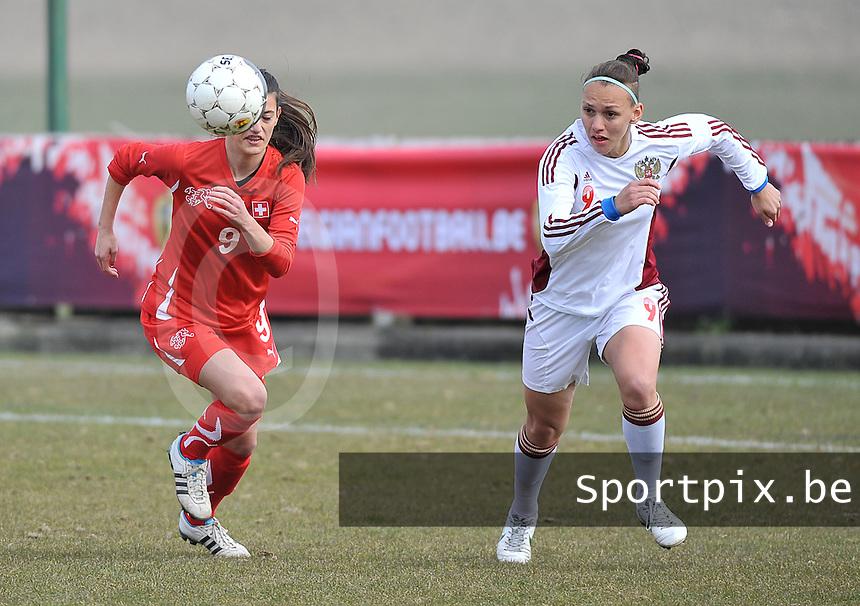 Switzerland U19 - Russia U19 : Elmira Piskunova on the ball before Florijana Ismaili (left).foto DAVID CATRY / Nikonpro.be