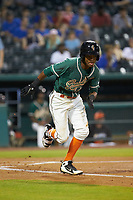 Jose Devers (2) of the Greensboro Grasshoppers hustles down the first base line against the West Virginia Power at First National Bank Field on June 1, 2018 in Greensboro, North Carolina. The Grasshoppers defeated the Power 10-3. (Brian Westerholt/Four Seam Images)