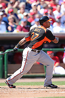 Baltimore Orioles third baseman Josh Bell #37 at bat during a spring training game vs. the Philadelphia Phillies at Bright House Field in Clearwater, Florida;  March 8, 2011.  Philadelphia defeated Baltimore 4-3.  Photo By Mike Janes/Four Seam Images