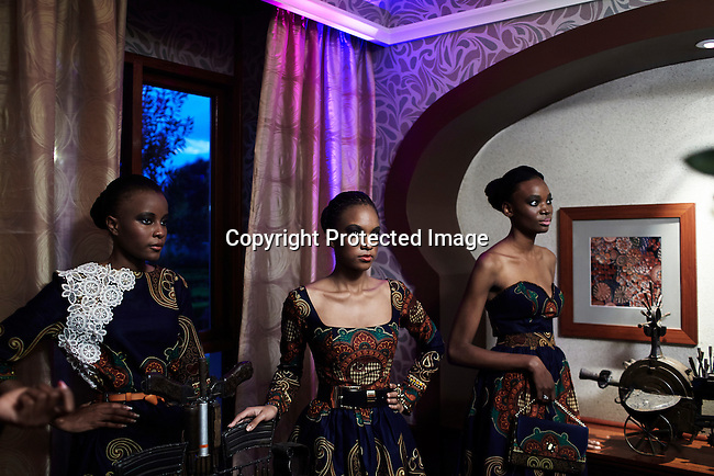 MAPUTO, MOCAMBIQUE - JUNE 27: Models for the fashion designer Taibo Bacar during a fashion show installation on June 27, 2013 at Polana hotel in Maputo Mozambique. Taibo is one of the youngest and most celebrated African designers and he has shown his designs around Africa and the world. (Photo by: Per-Anders Pettersson)