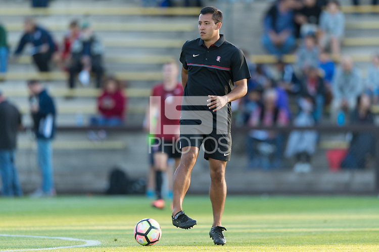 Stanford, CA - September 10, 2016: Volunteer Assistant Charles Rodriguez during the Stanford vs San Jose State Men's soccer match in Stanford, California.  The Cardinal defeated the Spartans 4-1.