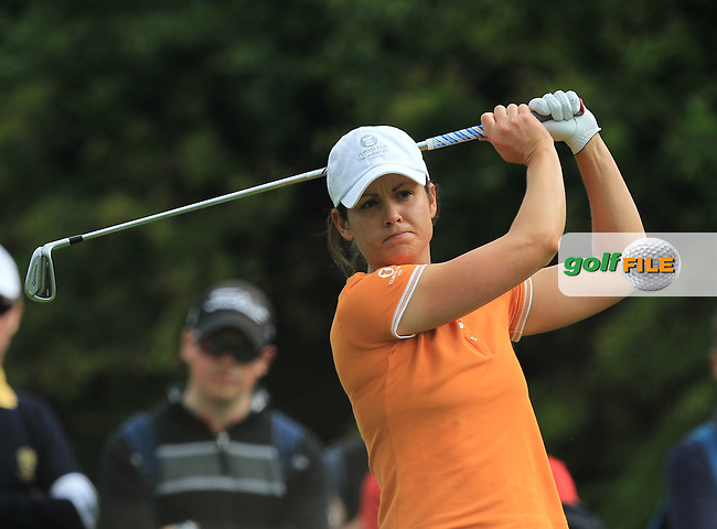 Maria Dunne on the 8th tee during the Saturday Mourning Fourbsomes of the 2016 Curtis Cup at Dun Laoghaire Golf Club on Saturday 11th June 2016.<br /> Picture:  Golffile   Thos Caffrey