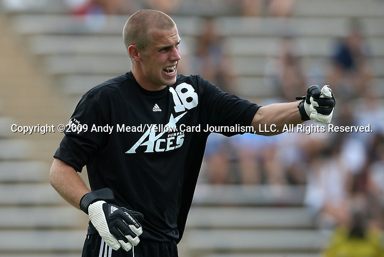 06 September 2009: Evansville's Phil Boerger. The University of North Carolina Tar Heels defeated the Evansville University Purple Aces 4-0 at Fetzer Field in Chapel Hill, North Carolina in an NCAA Division I Men's college soccer game.