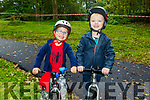 Kaelan Dunne (Tralee) and Issac Hutchinson (Tralee) getting ready for Cross County Mountain Bike cycling in the Tralee town park on Saturday morning
