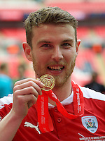 Sam Winnall of Barnsley with his medal after winning the Johnstone's Paint Trophy Final match between Oxford United and Barnsley at Wembley Stadium, London, England on 3 April 2016. Photo by Alan  Stanford / PRiME Media Images.