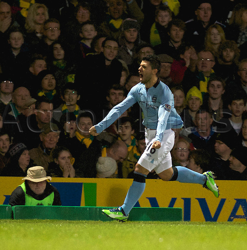 29.12.2012 Norwich, England. Sergio Aguero celebrates his goal during the Premier League game between Norwich and Manchester City from Carrow Road.