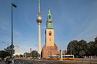 The Marienkirche or St Mary's Church, originally 13th century but comprehensively restored in the 19th and 20th centuries, and behind, the Fernsehturm or TV Tower, built 1965-69 in the former East Berlin, Berlin, Germany. Picture by Manuel Cohen
