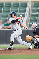 Jared Breen (15) of the Delmarva Shorebirds follows through on his swing against the Kannapolis Intimidators at CMC-NorthEast Stadium on July 2, 2014 in Kannapolis, North Carolina.  The Intimidators defeated the Shorebirds 6-4. (Brian Westerholt/Four Seam Images)