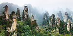 Mountans of Zhangjiajie National Forest Park, panoramic landscape scenery, Zhangjiajie, Hunan, China