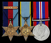 BNPS.co.uk (01202 558833)<br /> Pic: Spink & Son/BNPS<br /> <br />  The medals of a fearless pilot who was machine-gunned in his parachute in one of the most 'disgraceful' acts of the Battle of Britain have emerged for sale.<br /> <br /> Squadron Leader Harold Starr bailed out of his stricken Hurricane at 15,000ft following a dogfight with the Luftwaffe in August 1940.<br /> <br /> As he plummeted towards the ground three Messerschmidt 109s fighter planes rounded on him.<br /> <br /> They opened fire on the defenceless airman whose body landed at a brickworks at Eastry, near Deal, Kent.<br /> <br /> A horrified gardener who witnessed the 'Nazi act of barbarity' from the ground described how the German aircraft 'piled in' on him.