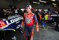 Feb 9, 2008; Daytona, FL, USA; Nascar Sprint Cup Series driver Jeff Gordon (24) during practice for the Daytona 500 at Daytona International Speedway. Mandatory Credit: Mark J. Rebilas-US PRESSWIRE