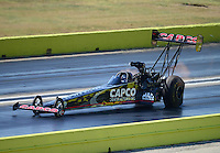 Sept. 23, 2012; Ennis, TX, USA: NHRA top fuel dragster driver Steve Torrence during the Fall Nationals at the Texas Motorplex. Mandatory Credit: Mark J. Rebilas-