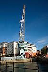 Old crane in Gunwharf Quays waterside development, Portsmouth, Hampshire, England