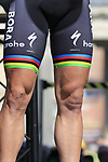 World Champion Peter Sagan (SVK) Bora-Hansgrohe battle scars at the Team Presentation for the upcoming 115th edition of the Paris-Roubaix 2017 race held in Compiegne, France. 8th April 2017.<br /> Picture: Eoin Clarke | Cyclefile<br /> <br /> <br /> All photos usage must carry mandatory copyright credit (&copy; Cyclefile | Eoin Clarke)