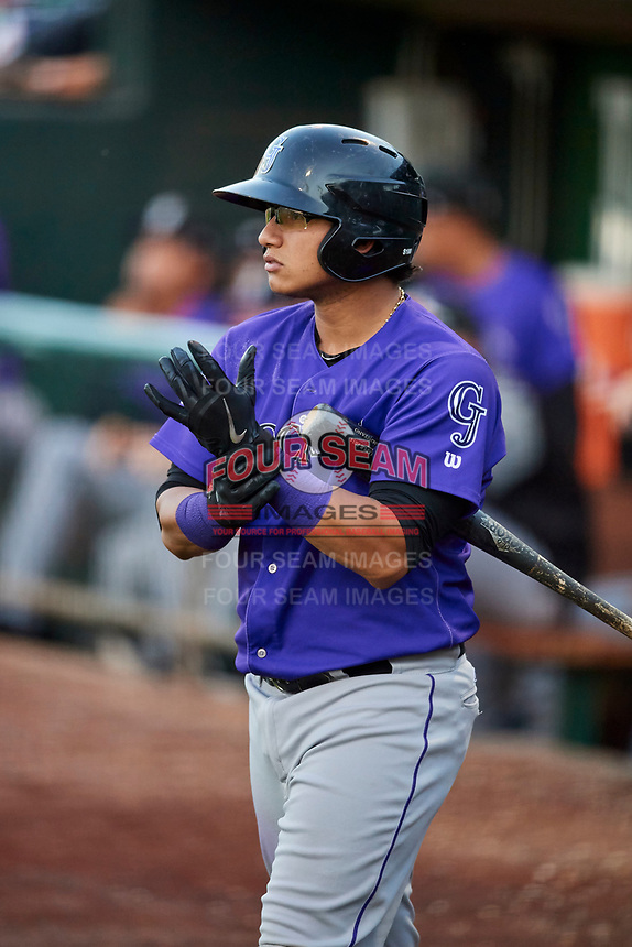 Javier Guevara (6) of the Grand Junction Rockies comes to bat during a game against the Ogden Raptors at Lindquist Field on September 7, 2018 in Ogden, Utah. The Rockies defeated the Raptors 8-5. (Stephen Smith/Four Seam Images)