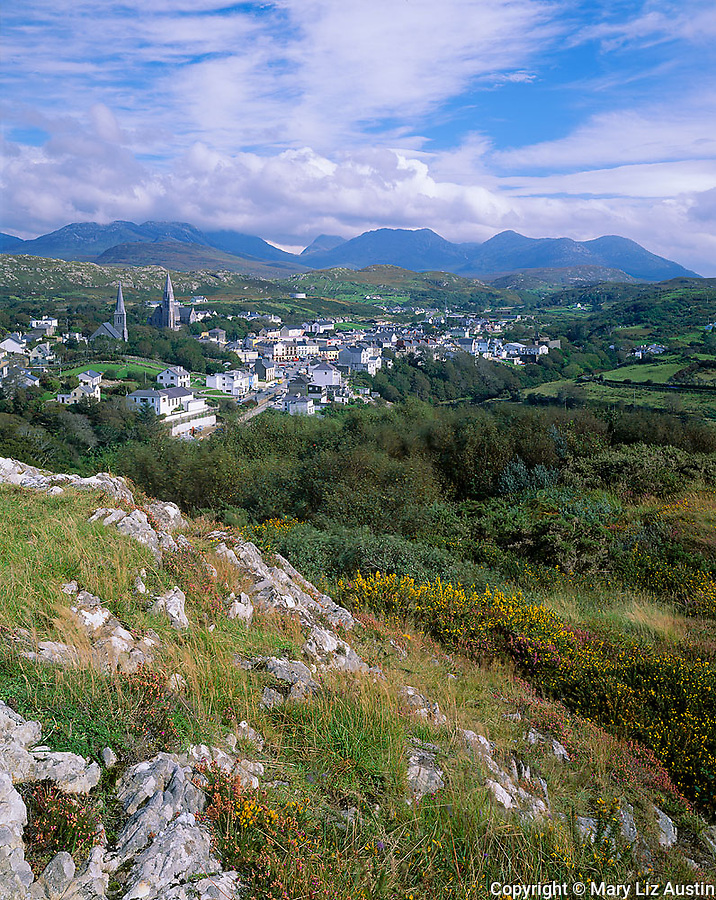 County Galway Ireland<br /> Village of Clifden with the Twelve Bens mountains in the distance
