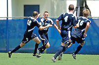 10 September 2011:  FIU's Quentin Albrecht (22) celebrates his game-winning goal with teammates as the FIU Golden Panthers defeated the Stetson University Hatters, 3-2 in the second overtime period, at University Park Stadium in Miami, Florida.