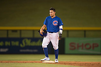 AZL Cubs 1 first baseman Luis Hidalgo (17) stands on second base during an Arizona League game against the AZL Diamondbacks at Sloan Park on June 18, 2018 in Mesa, Arizona. AZL Diamondbacks defeated AZL Cubs 1 7-0. (Zachary Lucy/Four Seam Images)