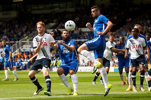 18.07.2015.  Peterborough, Engand. Pre Season Friendly Peterborough United versus Tottenham Hotspur. Michael Smith (Peterborough United) clears the ball at a cross.
