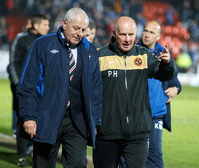 Walter Smith and Peter Houston walking off together at the end of the match