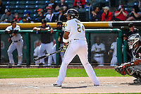Jefry Marte (24) of the Salt Lake Bees at bat against the El Paso Chihuahuas in Pacific Coast League action at Smith's Ballpark on April 24, 2016 in Salt Lake City, Utah. This was Game 2 of a double-header.  Salt Lake defeated El Paso 6-5. (Stephen Smith/Four Seam Images)