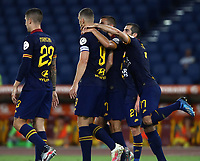 Football, Serie A: AS Roma - Hellas Verona Fc, Olympic stadium, Rome, July 15, 2020. <br /> Roma's captain Edin Dzeko (c) celebrates after scoring with his teammates during the Italian Serie A football match between Roma and Hellas Verona at Rome's Olympic stadium, on July 15, 2020. <br /> UPDATE IMAGES PRESS/Isabella Bonotto