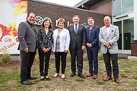 Francois Legault, chef de la CAQ , le 10 septembre 2018, a Delson avec les maires de la region : <br /> Christian Ouellette - Maire de Delson<br /> Sylvia Baronian - La Piniere<br /> Jocelyne Bates - Ville de Sainte-Catherine