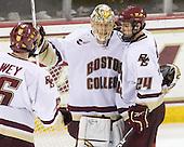Patrick Wey (BC - 6), John Muse (BC - 1), Matt Lombardi (BC - 24) - The Boston College Eagles defeated the Northeastern University Huskies 5-1 on Saturday, November 7, 2009, at Conte Forum in Chestnut Hill, Massachusetts.