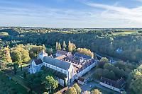 France, Indre (36), Parc naturel régional de la Brenne, Fontgombault, l'abbaye bénédictine Notre-Dame de Fontgombault (vue aérienne)
